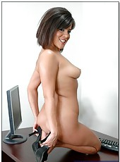 Crazy hot and horny brunette lady Michelle Avanti fucks her young bf in the office
