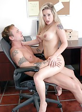 Busty blonde Rebecca Steele know how to conduct negotiations with hot boys