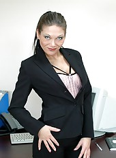 Horny and busty office lady Ana Nova seduces her subordinate with her hot charms
