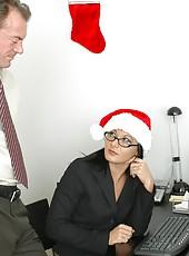 Mrs. Renee Richards and Mrs. Sandra Romain celebrating Christmas with big cock