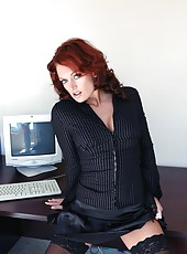 Elegant redhead lady Monica Mayhem becomes a dirty bitch with a big cock