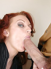 Elegant redhead lady Monica Mayhem becomes a dirty bitch with a big cock