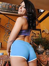 Ravishing babe Adriana Chechik spreads her gentle pussy lips