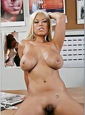 Horny tanned blonde Bridgette B gets her fucker