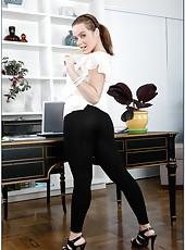 Beautiful and young milf Natasha Nice licks a cock and gets pleasure