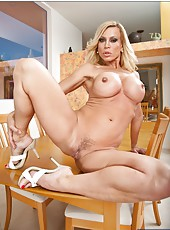 Wonderful housewife Amber Lynn showing her body and fingering on the chair