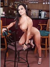 Wild hooker Claudia Valentine revealing awesome body and masturbating