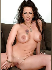 Majestic cougar Anjelica Lauren is showing her huge boobs and horny mood