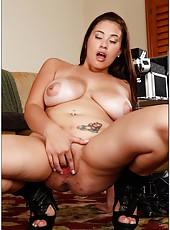 Chubby babe Selena Castro showing her big tits and masturbating hard