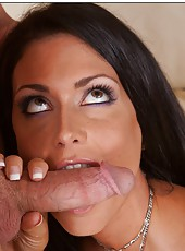 Hot brunette milf Jessica Jaymes gets a good pounding in her pussy