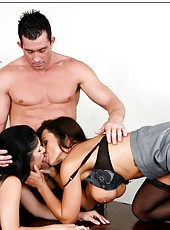 Hot office lesbians Lisa Ann and Sativa Rose decided to get a big cock today