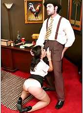 Old-fashioned office fucking scene with Penny Flame and Aiden Starr