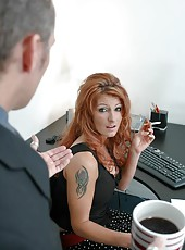 Awesome redhead lady Samantha Lucci demonstrates her office fucking experience