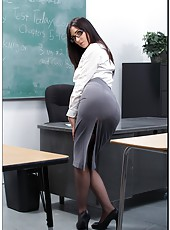 Dark haired teacher Diana Prince gets a cock in the sexy holes