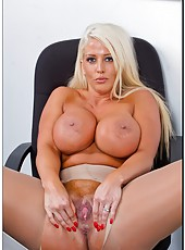 Tanned blonde Alura Jenson demonstrates her huge boobs and gets a sperm