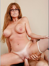 Crazy mature Darla Crane undresses her bra and demonstrates huge tits