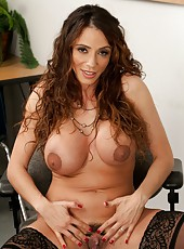 Elegant lady Ariella Ferrera shows her big tits and haired pussy