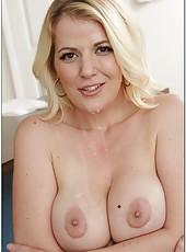 Gorgeous lady Anita Blue tastes a sexy sperm after a great blowjob