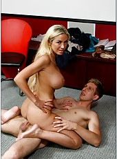Extremely hot blonde with huge breasts Evita Pozzi seduces young guy with big cock