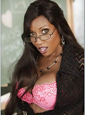 Ebony milf teacher Diamond Jackson seduces white student with her huge boobs