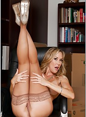 Sexy milf Brandi Love shows off her sweeties in sexy stockings and then gets a cock