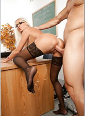 Glamorous blonde sex angel Diana Doll fucked in the classroom in her sexy stockings