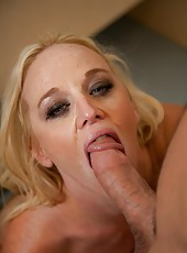 Ultra-busty blonde in sexy glasses Dee Siren strips, sucks and fucks like a wild