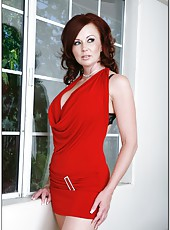 Exceptional babe Felony Foreplay taking of her red dress and posing