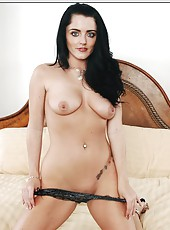 Winsome brunette whore Sophie Dee being alone at home and masturbating