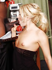 Victorious blonde  whore Paris Gables enjoys a fat chocolate cock in her twat
