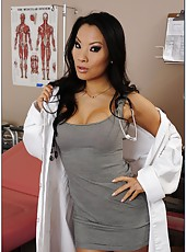 Beautiful Asian doctor Asa Akira rubs her delicious ass and a juicy pussy