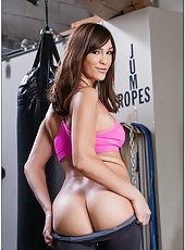 Two winsome lesbian milfs Holly Michaels and Vanessa Cage take off their sport clothes