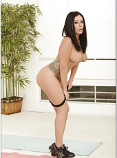 Tattooed brunette with britght eyes and huge tits Isis Monroe does her morning exercises