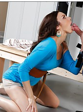 Gorgeous brunette lady Tiffany Tyler gets a big dick in the locker room