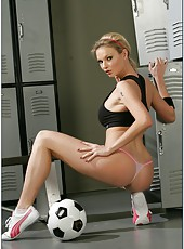 Awesome soccer player Tarra White uses her delicious treasures to seduce referee