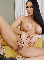Naughty dark haired chick Vanilla DeVille undresses her sexy lingerie and masturbates