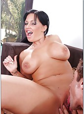 Sweet milf Kerry Louise makes him wild with her big tits and pierced pussy