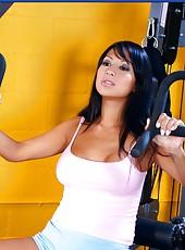 Big titted brunette Gianna Lynn loves sports but she loves hardcore fucking much more