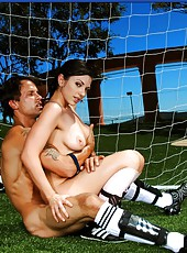 Horny brunette Franchezca Valentina gets extra energy right on the gridiron