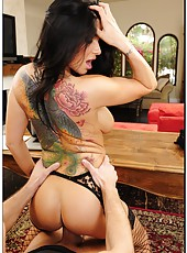 Married and slutty milf Romi Rain seduces her lover in sexy fishnet stockings