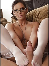 Fantastic brunette bombshell in sexy glasses Phoenix Marie shows off real love