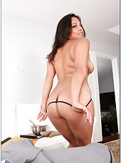 Busty Asian bombshell Adrianna Luna strips demonstrating her treasures and fucks great