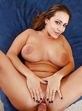 Super busty milf Trina Michaels got cum on her melons after pierced pussy fuck
