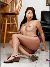 Impressive Asian milf Beti Hana shows off her sweet figure and gets facialized