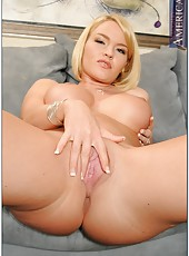 Short-haired blonde woman Krissy Lynn strips great and fucks amazingly