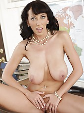 Experienced milf with young busty boobs Alia Janine fucked in her cabinet