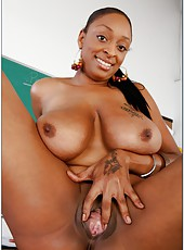Ebony teacher Mrs. Carmen Hayes with big tits and hot tattoos got white cock