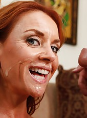 Mature redhead milf with a lot of sexual hunger Janet Mason enjoys neighbor