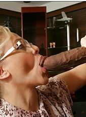 Famous teacher with beautiful tits Julia Ann plays with a big black cock