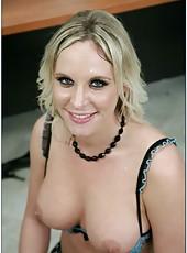 Blonde teacher in sexy stockings Brittanie Lane presents unforgettable blowjobs